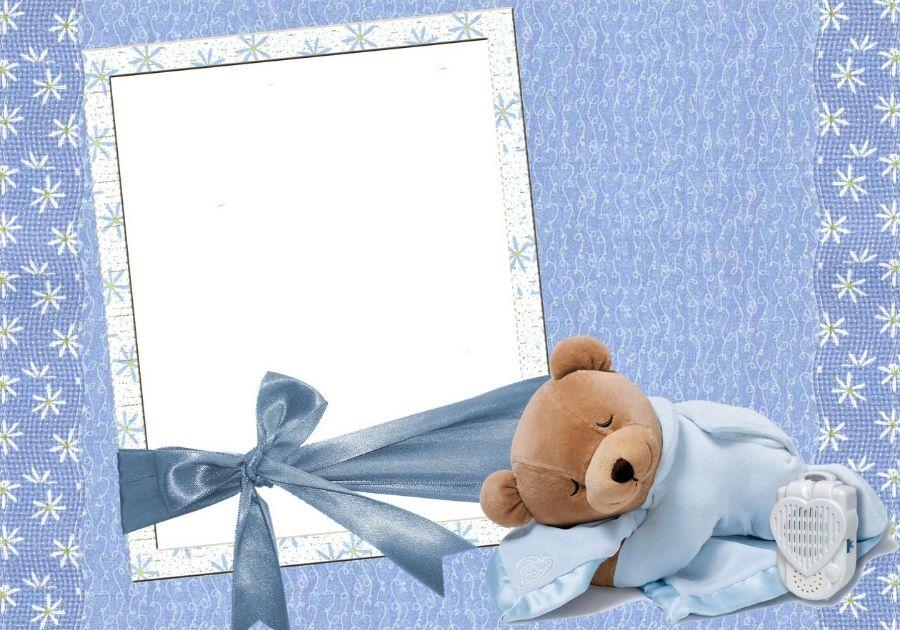 Tải khung hình dễ thương Photoshop chú gấu bông nằm ngủ