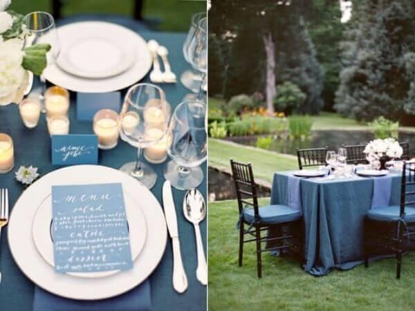 Trang trí bàn cưới handmade với khăn trải đơn giản